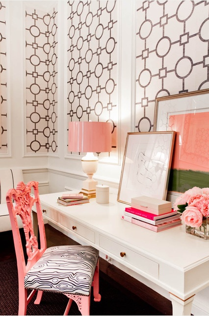 Feminine-Home-Office-Interior-Design-with-Cool-Wallpaper