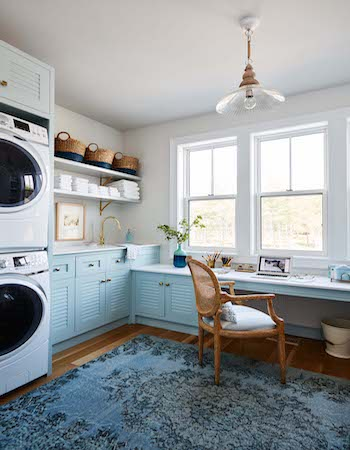Metrie's interior finishings frames this large open window in Sarah Richardson's new laundry room.