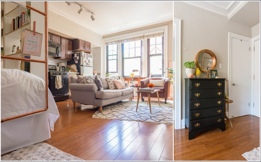 A crafty studio apartment for a first time dweller has beautiful interior finishings.