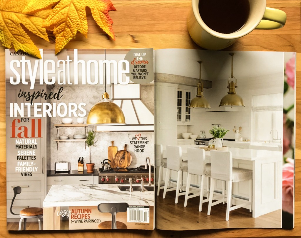 In Style At Home's October issue, Metrie's trim is featured inside Jillian Harris' kitchen