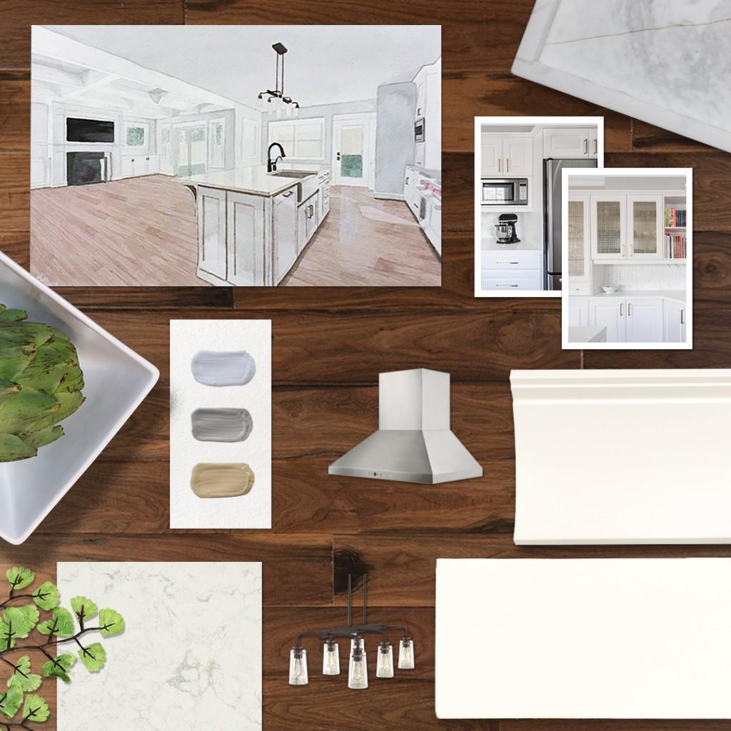 Metrie's monthly moodboard inspiration comes from Classic Cottages elegant kitchen and great room.
