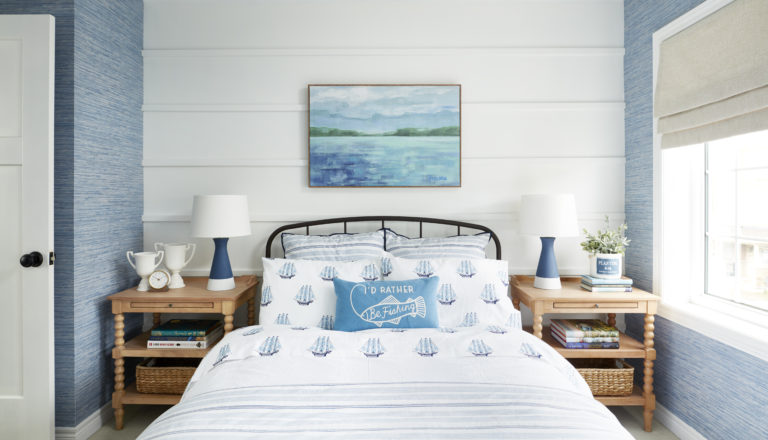 Using Metrie' flat stock, Sarah Gunn creates a feature wall in her son's bedroom.