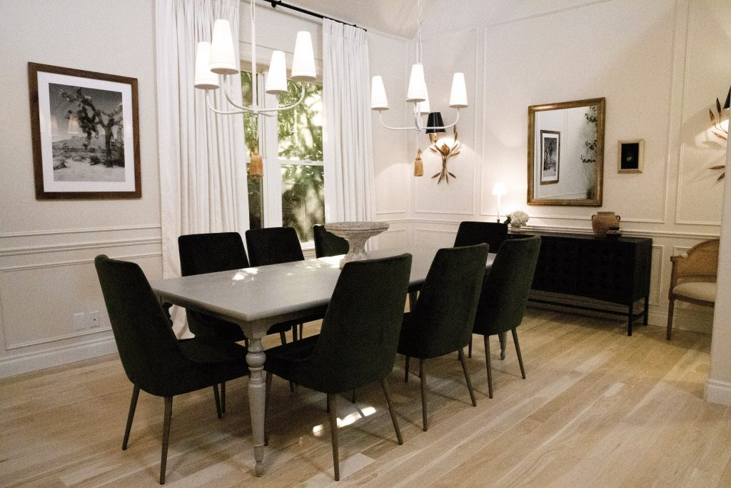 Nate and Jeremiah used panel moulding to dress up this dining room's walls